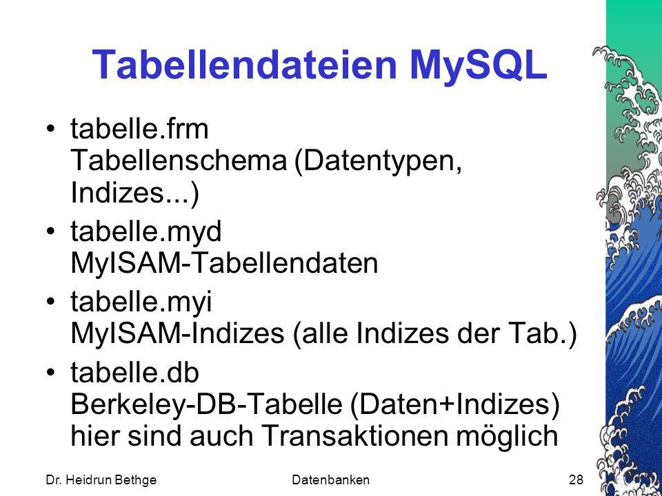 Dr. Heidrun BethgeDatenbanken28 Tabellendateien MySQL tabelle.frm Tabellenschema (Datentypen, Indizes...) tabelle.myd MyISAM-Tabellendaten tabelle.myi
