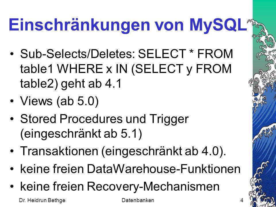 Dr.Heidrun BethgeDatenbanken5 Windows oder Unix/Linux.