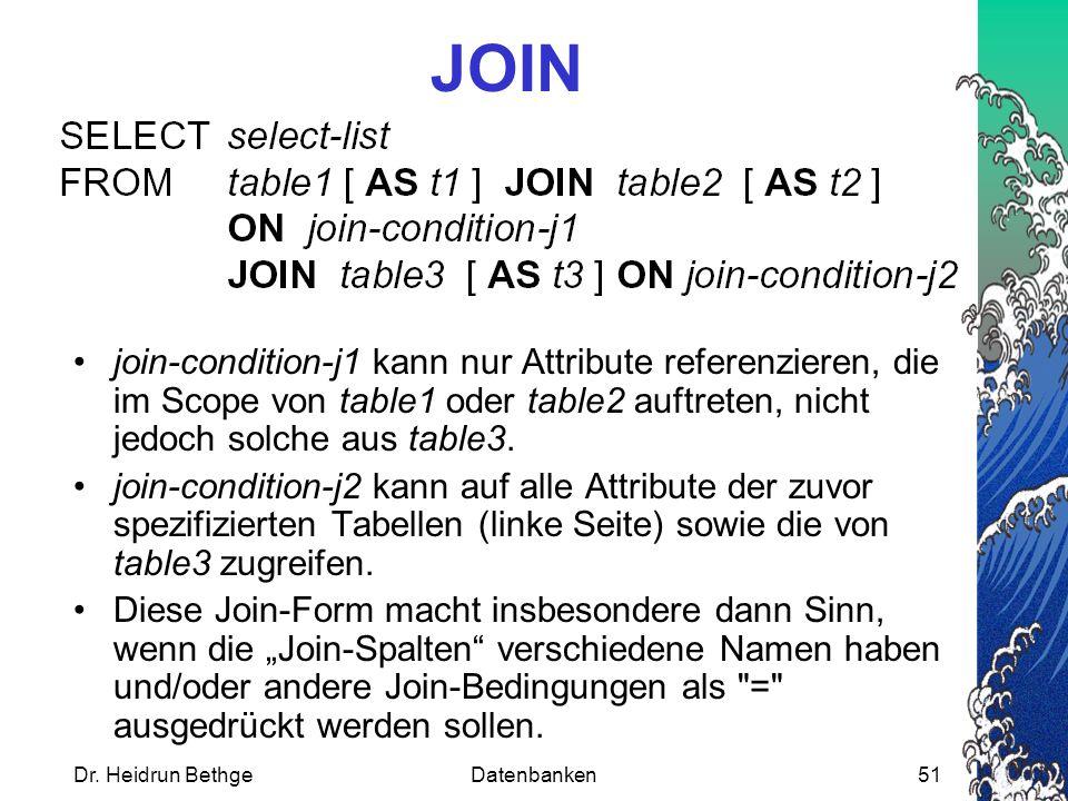 Dr. Heidrun BethgeDatenbanken51 JOIN join-condition-j1 kann nur Attribute referenzieren, die im Scope von table1 oder table2 auftreten, nicht jedoch s
