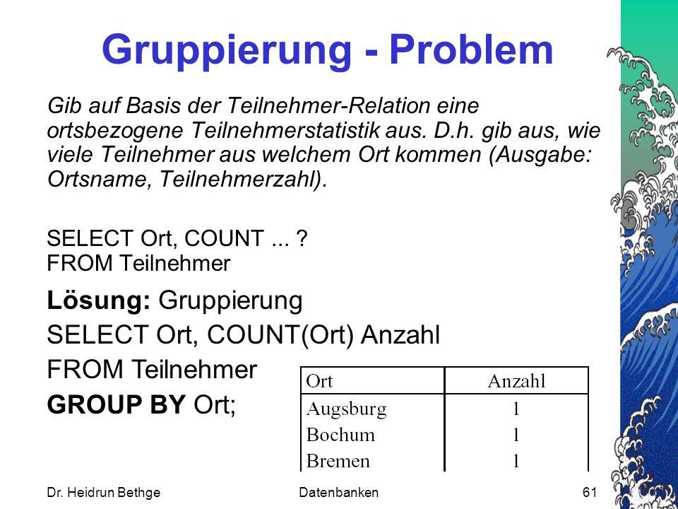 Dr. Heidrun BethgeDatenbanken61 Gruppierung - Problem Gib auf Basis der Teilnehmer-Relation eine ortsbezogene Teilnehmerstatistik aus. D.h. gib aus, w