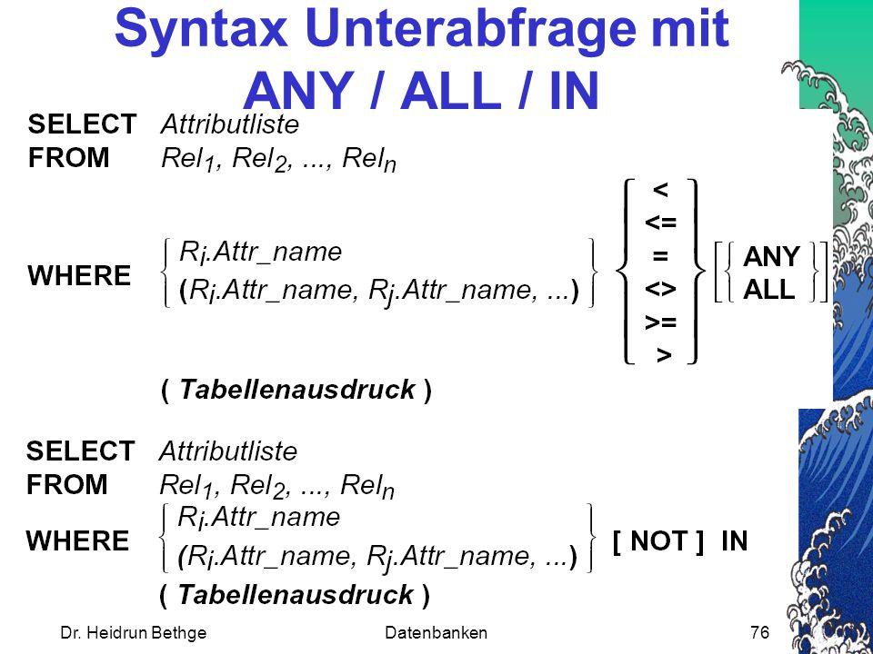 Dr. Heidrun BethgeDatenbanken76 Syntax Unterabfrage mit ANY / ALL / IN