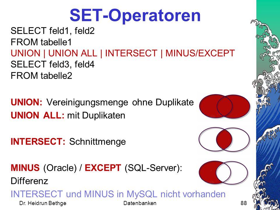 SELECT feld1, feld2 FROM tabelle1 UNION | UNION ALL | INTERSECT | MINUS/EXCEPT SELECT feld3, feld4 FROM tabelle2 UNION: Vereinigungsmenge ohne Duplikate UNION ALL: mit Duplikaten INTERSECT: Schnittmenge MINUS (Oracle) / EXCEPT (SQL-Server): Differenz INTERSECT und MINUS in MySQL nicht vorhanden SET-Operatoren Dr.