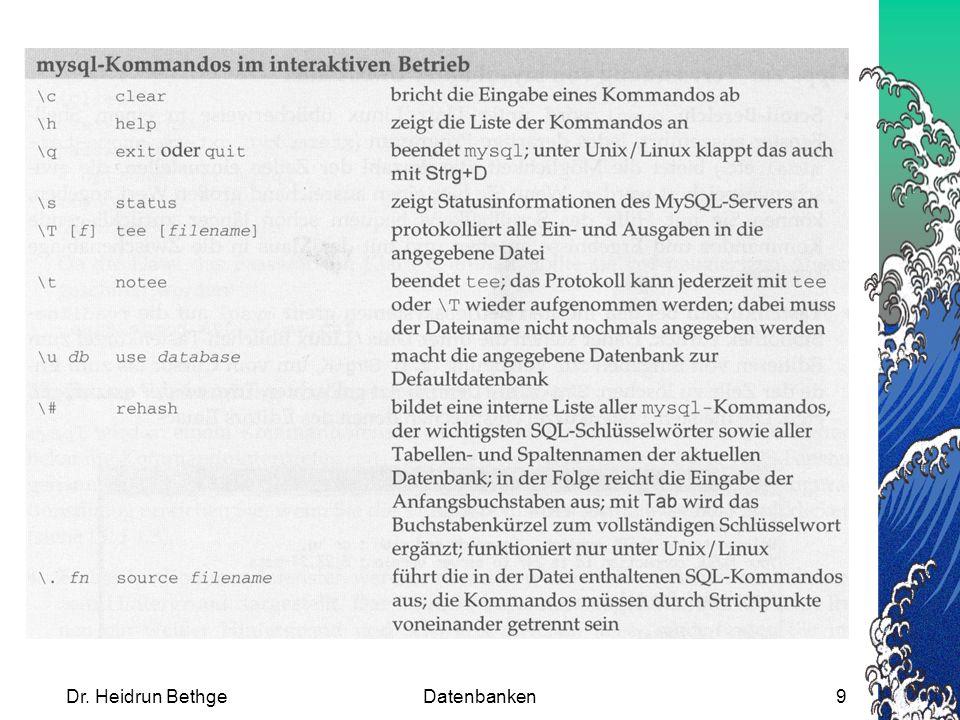 Dr. Heidrun BethgeDatenbanken30 INSERT