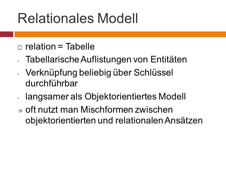 Relationales Modell  relation = Tabelle - Tabellarische Auflistungen von Entitäten - Verknüpfung beliebig über Schlüssel durchführbar - langsamer als Objektorientiertes Modell  oft nutzt man Mischformen zwischen objektorientierten und relationalen Ansätzen