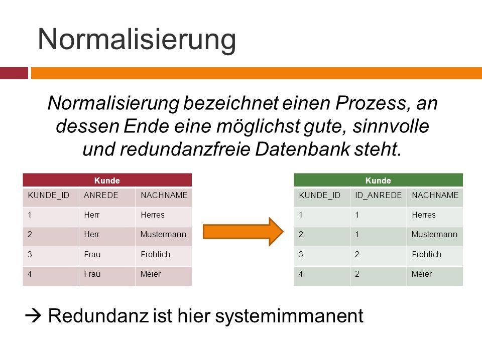 Normalisierung Normalisierung bezeichnet einen Prozess, an dessen Ende eine möglichst gute, sinnvolle und redundanzfreie Datenbank steht. Kunde KUNDE_
