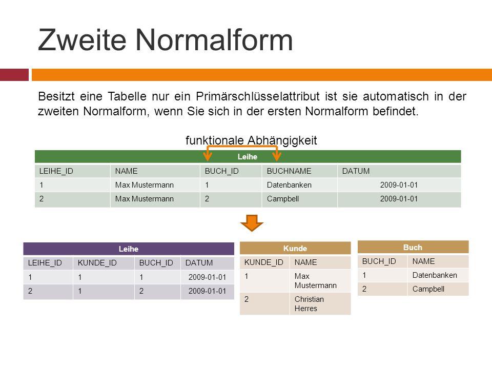 Zweite Normalform Besitzt eine Tabelle nur ein Primärschlüsselattribut ist sie automatisch in der zweiten Normalform, wenn Sie sich in der ersten Normalform befindet.