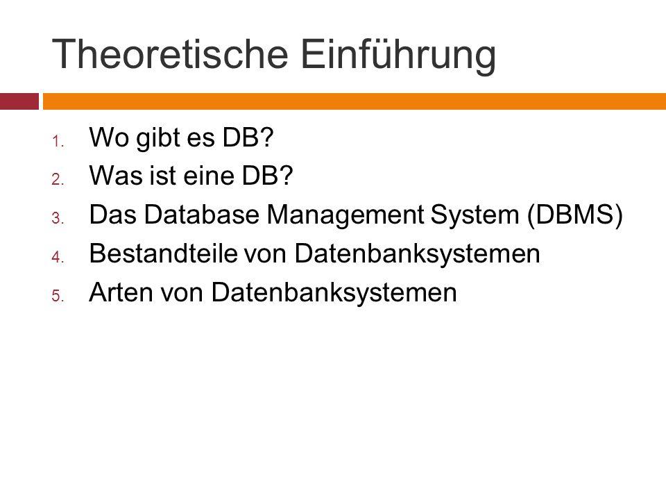 Theoretische Einführung 1. Wo gibt es DB? 2. Was ist eine DB? 3. Das Database Management System (DBMS) 4. Bestandteile von Datenbanksystemen 5. Arten