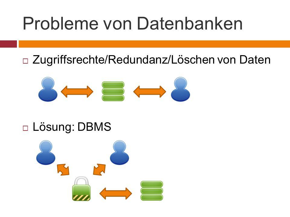 Probleme von Datenbanken  Zugriffsrechte/Redundanz/Löschen von Daten  Lösung: DBMS