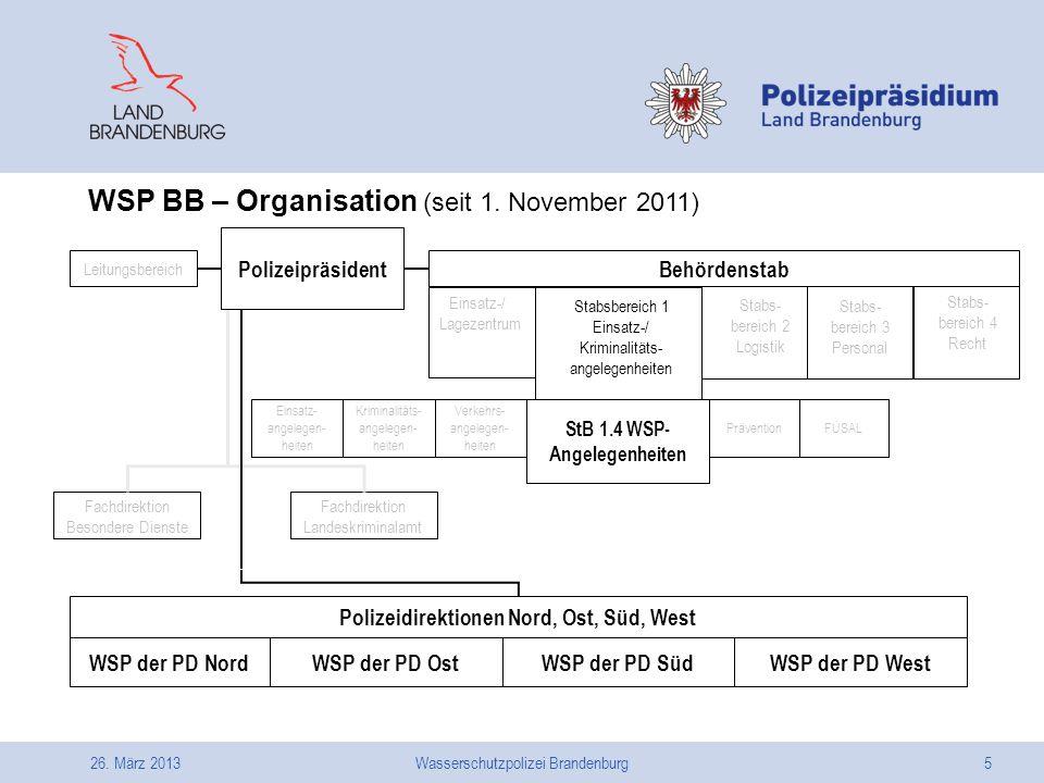 26. März 2013Wasserschutzpolizei Brandenburg5 Polizeidirektionen Nord, Ost, Süd, West Fachdirektion Besondere Dienste Fachdirektion Landeskriminalamt