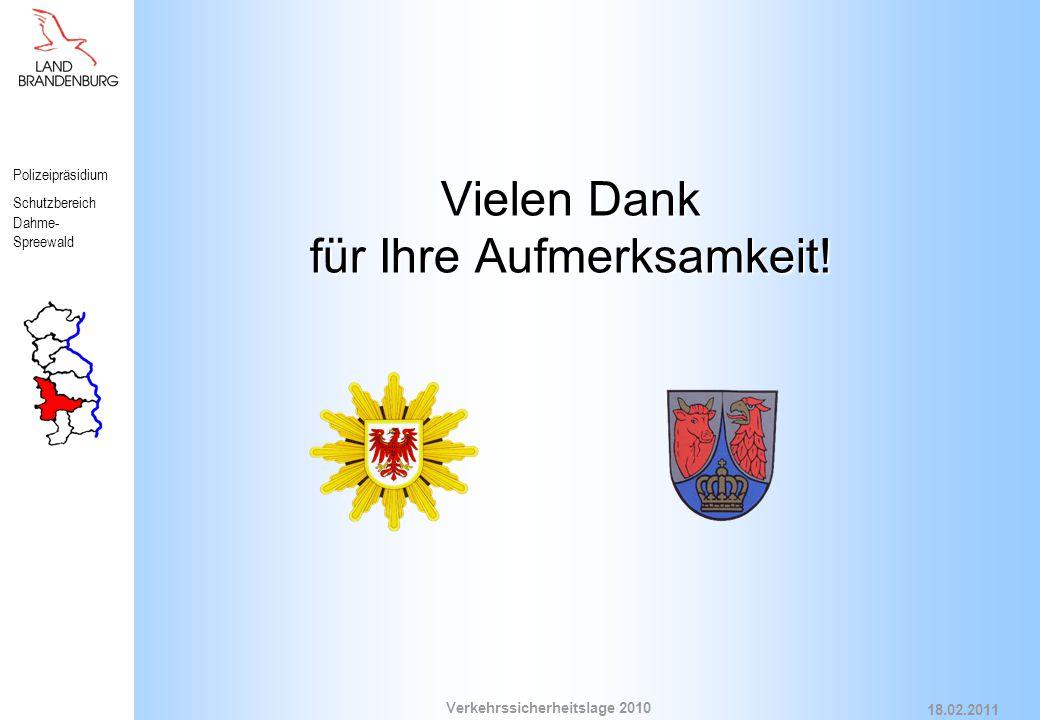 Polizeipräsidium Schutzbereich Dahme- Spreewald Verkehrssicherheitslage 2010 18.02.2011 Vielen Dank für Ihre Aufmerksamkeit!