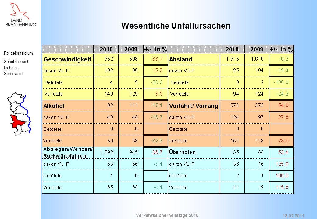 Polizeipräsidium Schutzbereich Dahme- Spreewald Verkehrssicherheitslage 2010 18.02.2011 Wesentliche Unfallursachen