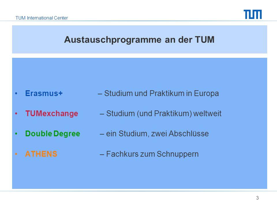TUM International Center 3 Austauschprogramme an der TUM Erasmus+ – Studium und Praktikum in Europa TUMexchange – Studium (und Praktikum) weltweit Double Degree – ein Studium, zwei Abschlüsse ATHENS – Fachkurs zum Schnuppern