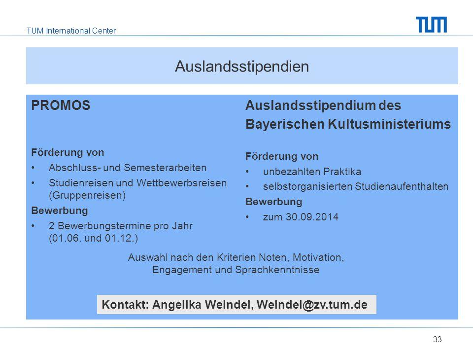 TUM International Center Auslandsstipendium des Bayerischen Kultusministeriums Förderung von unbezahlten Praktika selbstorganisierten Studienaufenthalten Bewerbung zum 30.09.2014 PROMOS Förderung von Abschluss- und Semesterarbeiten Studienreisen und Wettbewerbsreisen (Gruppenreisen) Bewerbung 2 Bewerbungstermine pro Jahr (01.06.