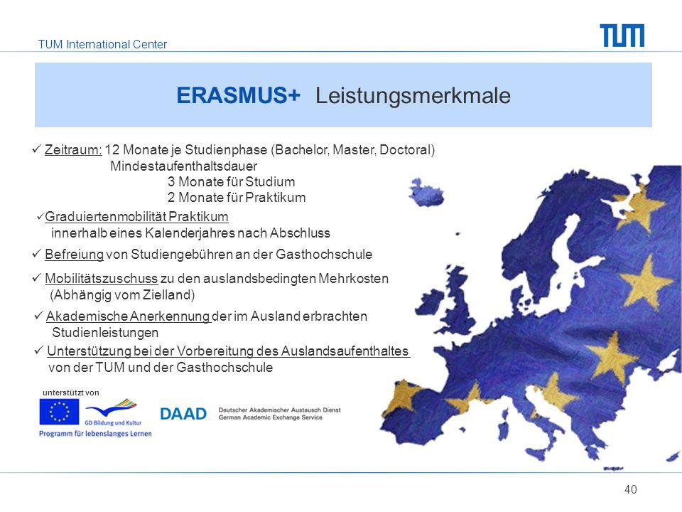 TUM International Center 40 ERASMUS+ Leistungsmerkmale unterstützt von