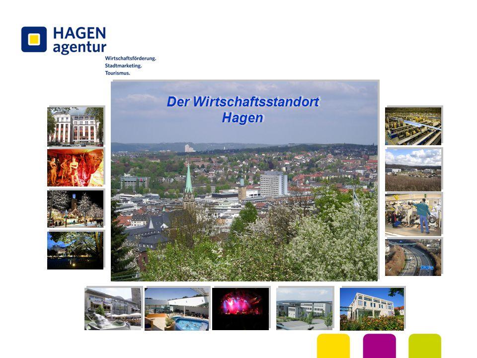 LAGE  Hagen liegt geographisch im Zentrum Europas und ist Teil der Wirtschaftsregion Rhein/Ruhr mit 11,5 Millionen Bewohnern  Im Umkreis von 500 km leben rund 150 Millionen Menschen (dies entspricht rund 50% der Gesamtbevölkerung der EU)  Alle wichtigen europäischen Wirtschaftsmetropolen sind nur rund zwei Flugstunden entfernt.
