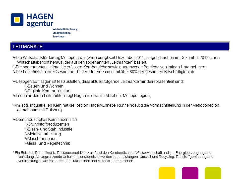 LEITMÄRKTE  Die Wirtschaftsförderung Metropoleruhr (wmr) bringt seit Dezember 2011, fortgeschrieben im Dezember 2012 einen Wirtschaftsbericht heraus,