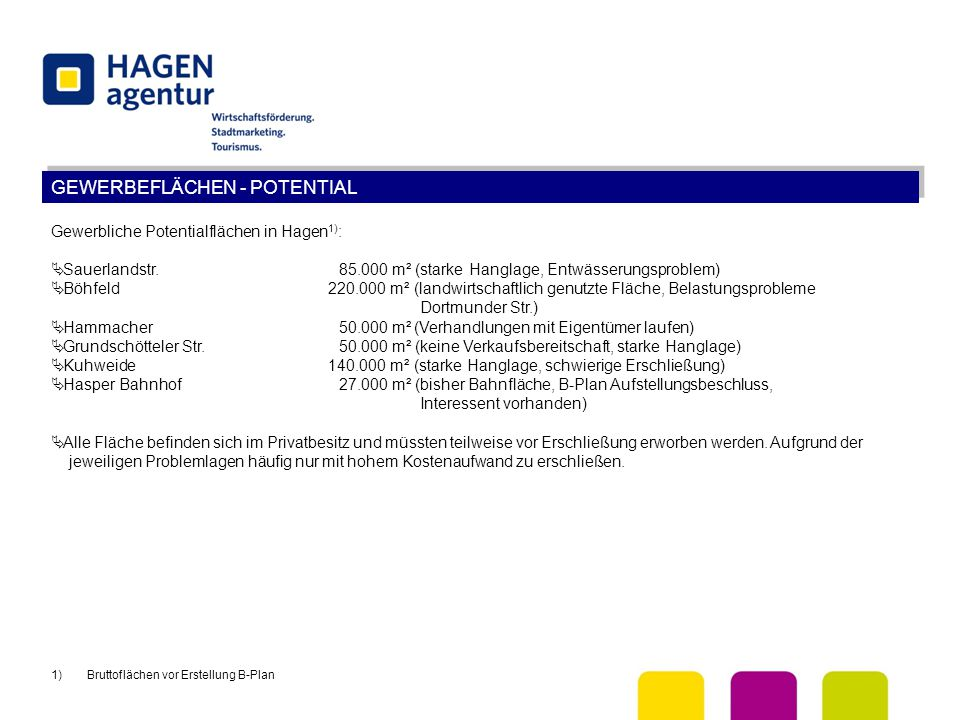 GEWERBEFLÄCHEN - POTENTIAL Gewerbliche Potentialflächen in Hagen 1) :  Sauerlandstr.85.000 m² (starke Hanglage, Entwässerungsproblem)  Böhfeld 220.0