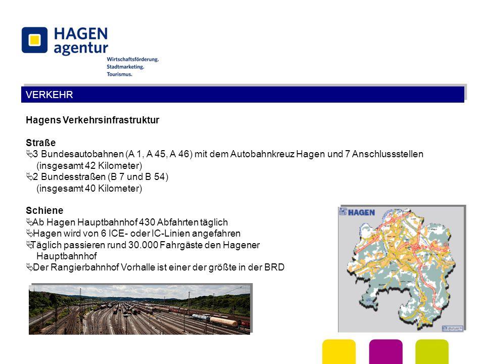 VERKEHR Hagens Verkehrsinfrastruktur Straße  3 Bundesautobahnen (A 1, A 45, A 46) mit dem Autobahnkreuz Hagen und 7 Anschlussstellen (insgesamt 42 Ki