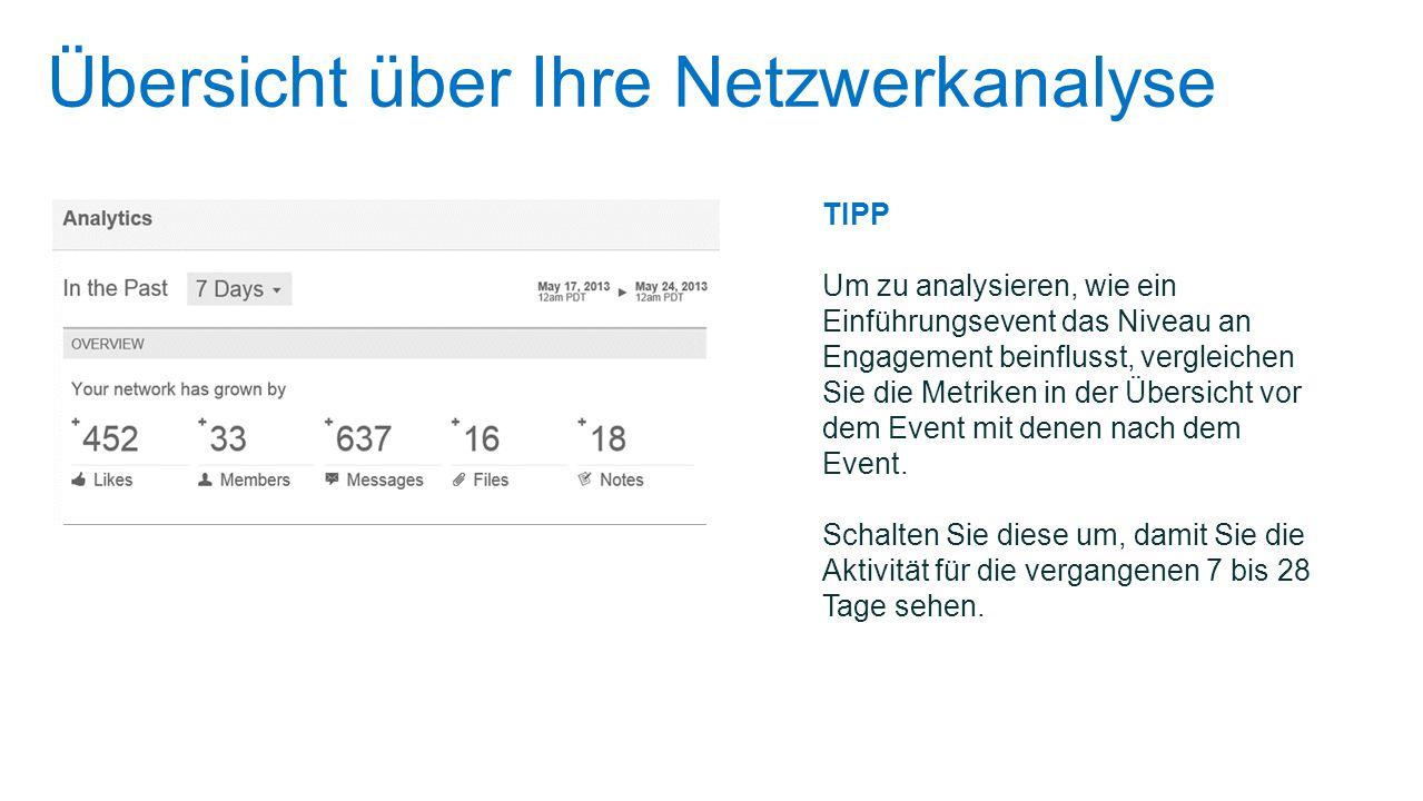 Übersicht über Ihre Netzwerkanalyse TIPP Um zu analysieren, wie ein Einführungsevent das Niveau an Engagement beinflusst, vergleichen Sie die Metriken