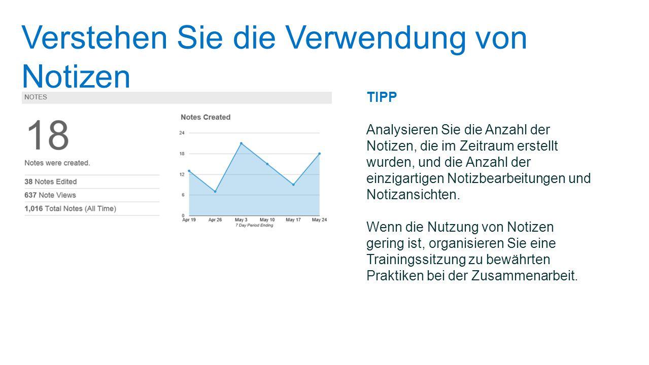 Verstehen Sie die Verwendung von Notizen TIPP Analysieren Sie die Anzahl der Notizen, die im Zeitraum erstellt wurden, und die Anzahl der einzigartige