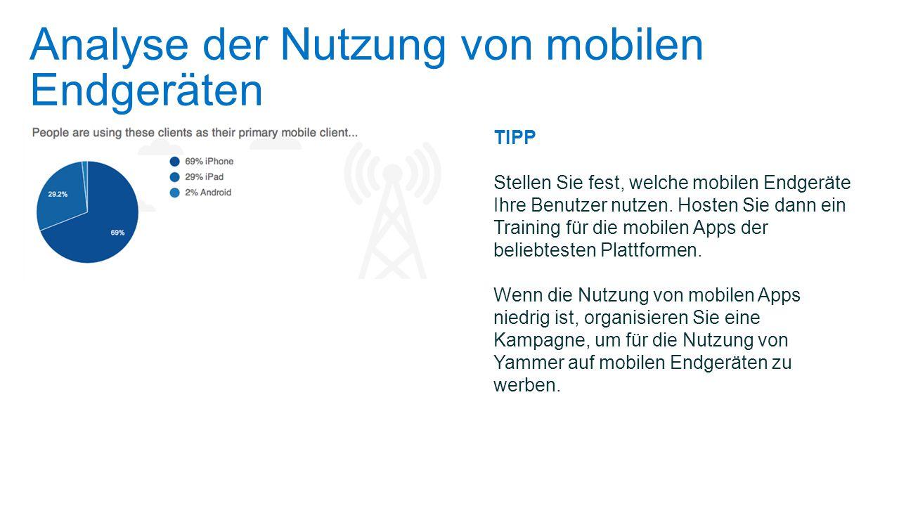 Analyse der Nutzung von mobilen Endgeräten TIPP Stellen Sie fest, welche mobilen Endgeräte Ihre Benutzer nutzen. Hosten Sie dann ein Training für die