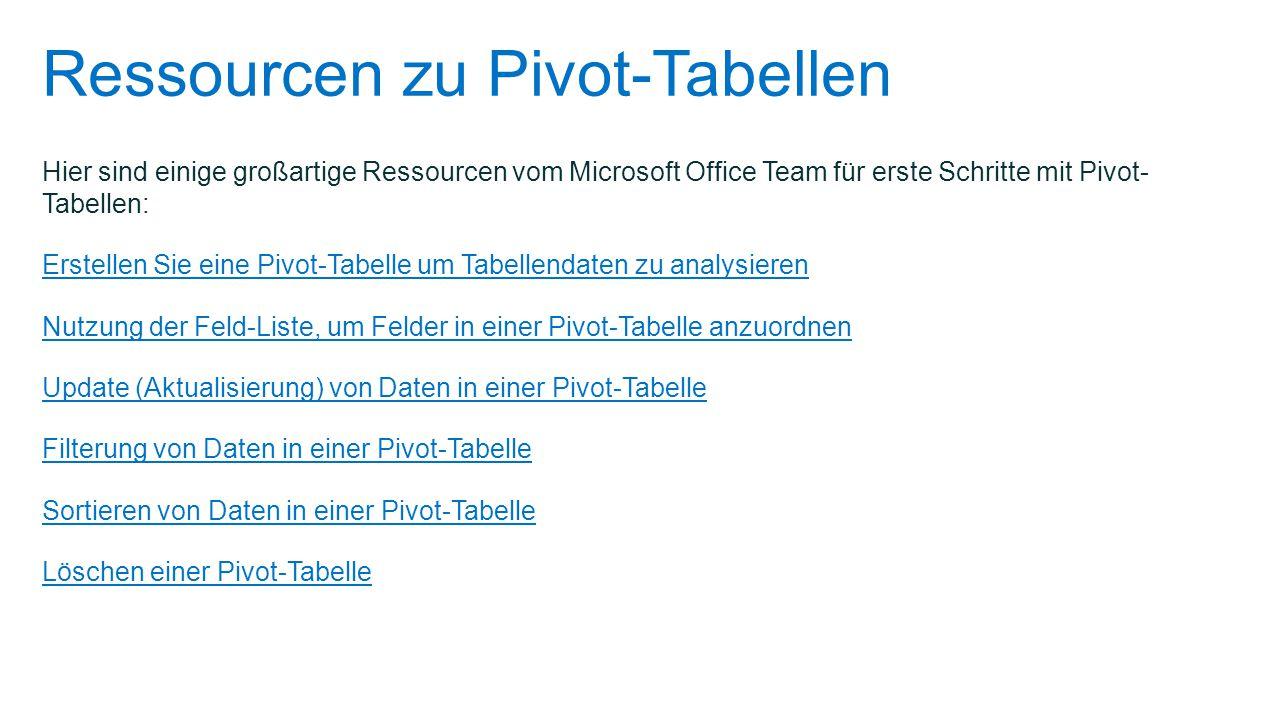 Ressourcen zu Pivot-Tabellen Hier sind einige großartige Ressourcen vom Microsoft Office Team für erste Schritte mit Pivot- Tabellen: Erstellen Sie ei