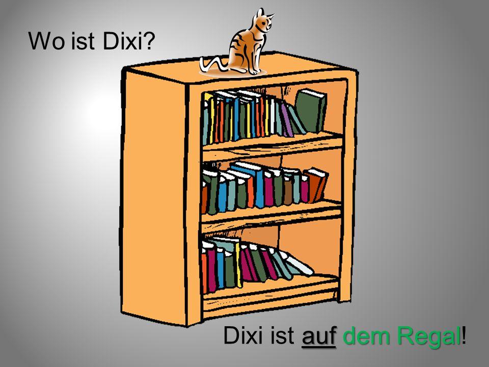 Wo ist Dixi? auf dem Regal Dixi ist auf dem Regal!