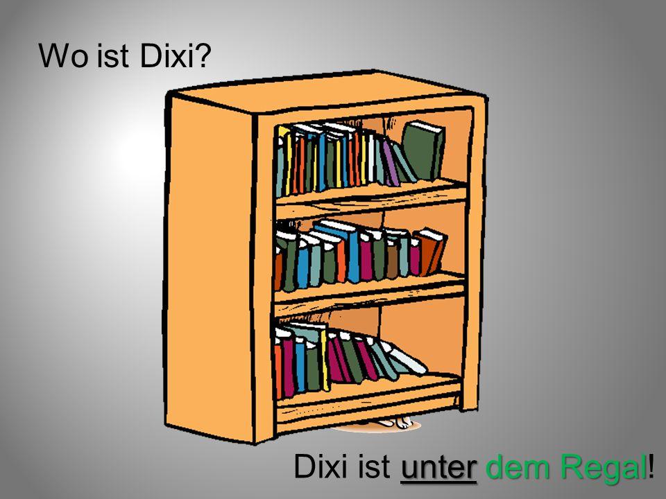 Wo ist Dixi? unter dem Regal Dixi ist unter dem Regal!