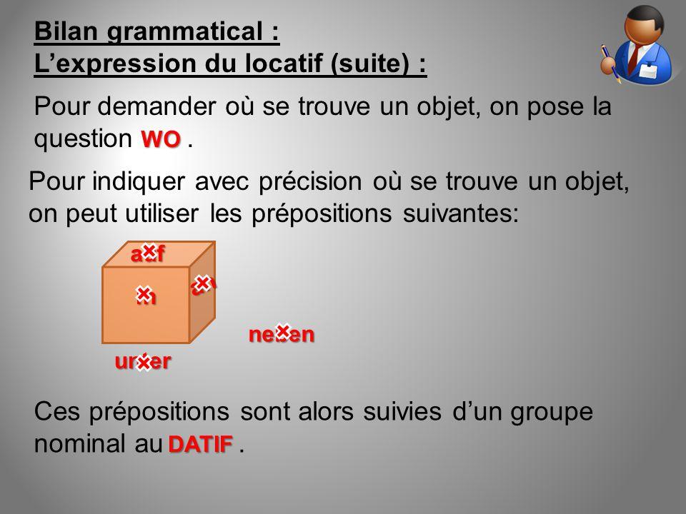 Bilan grammatical : L'expression du locatif (suite) : Ces prépositions sont alors suivies d'un groupe nominal au. auf unter in neben Pour indiquer ave