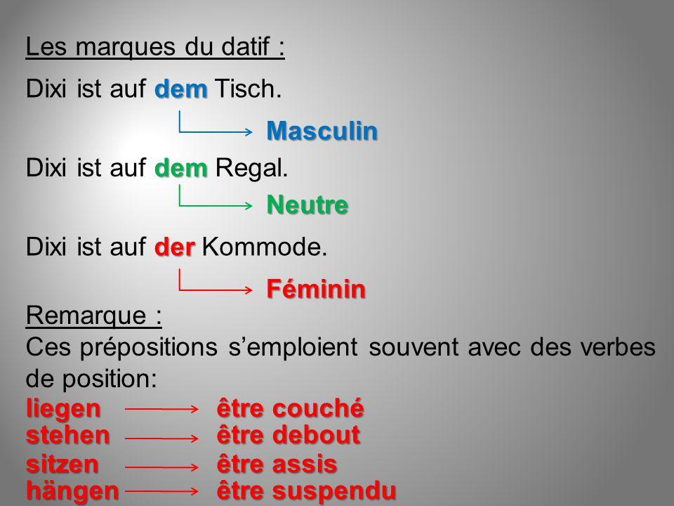 Les marques du datif : dem Dixi ist auf dem Tisch. Masculin dem Dixi ist auf dem Regal. Neutre der Dixi ist auf der Kommode. Féminin Remarque : Ces pr