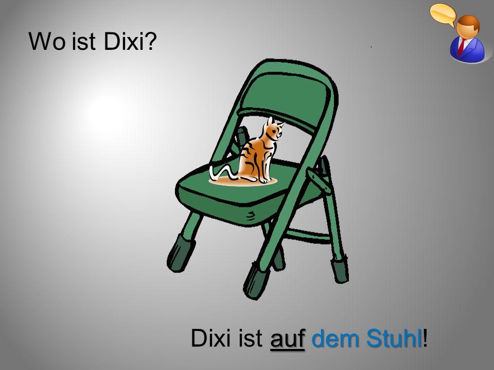 Wo ist Dixi? auf dem Stuhl Dixi ist auf dem Stuhl!