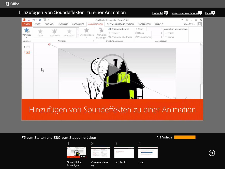 1234 KurszusammenfassungHilfe Hinzufügen von Soundeffekten zu einer Animation Untertitel 1/1 Videos Soundeffekte hinzufügen Zusammenfassu ng Feedback Hilfe 4:33 F5 zum Starten und ESC zum Stoppen drücken Stellen Sie sich vor, Sie haben die perfekten Soundeffekte für eine Animation, wissen aber nicht, wie sie hinzugefügt werden.