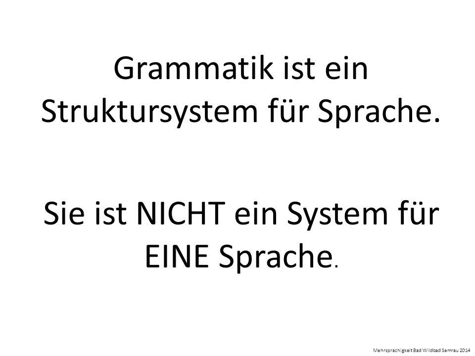 Grammatik ist ein Struktursystem für Sprache. Sie ist NICHT ein System für EINE Sprache. Mehrsprachigkeit Bad Wildbad Semrau 2014
