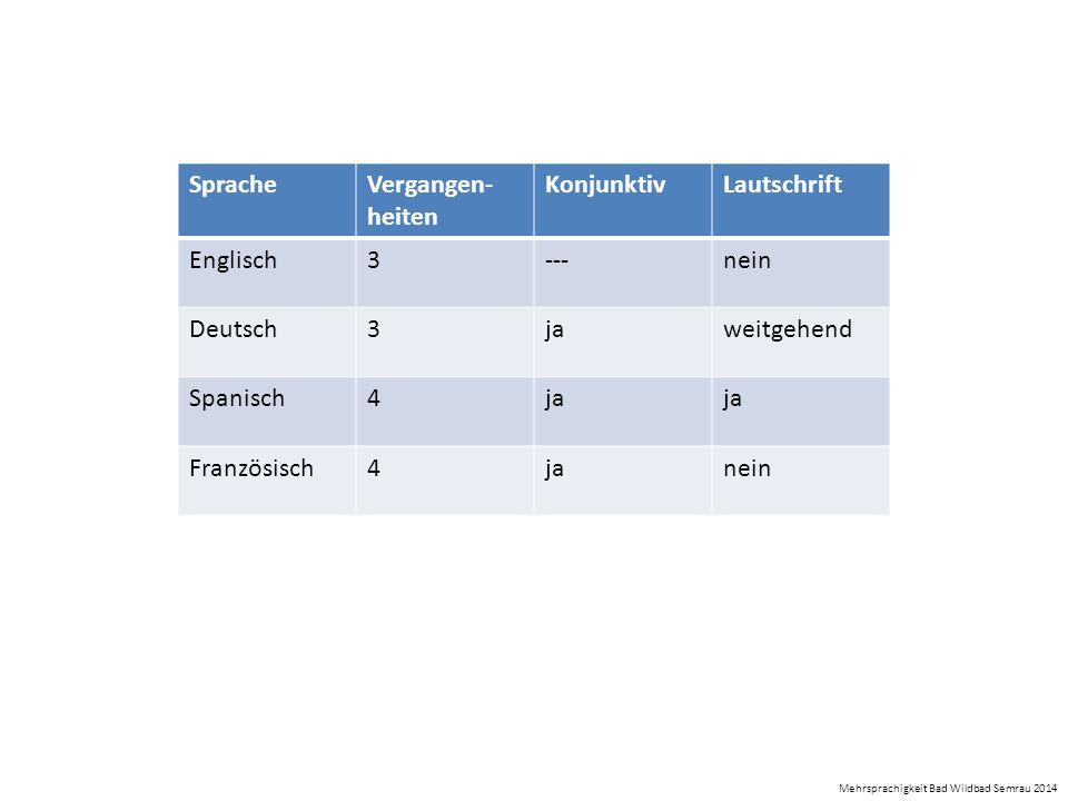 SpracheVergangen- heiten KonjunktivLautschrift Englisch3---nein Deutsch3jaweitgehend Spanisch4ja Französisch4janein Mehrsprachigkeit Bad Wildbad Semra