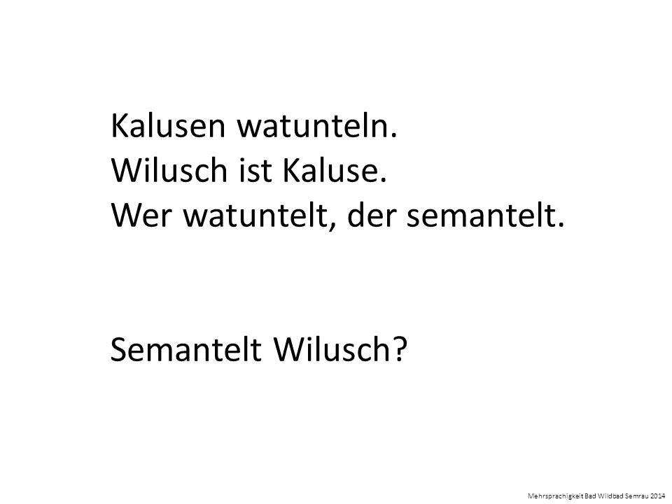 Kalusen watunteln. Wilusch ist Kaluse. Wer watuntelt, der semantelt. Semantelt Wilusch? Mehrsprachigkeit Bad Wildbad Semrau 2014