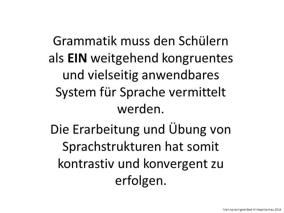 Grammatik muss den Schülern als EIN weitgehend kongruentes und vielseitig anwendbares System für Sprache vermittelt werden. Die Erarbeitung und Übung
