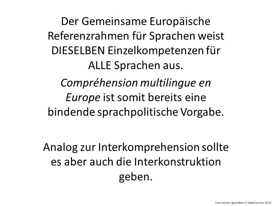 Der Gemeinsame Europäische Referenzrahmen für Sprachen weist DIESELBEN Einzelkompetenzen für ALLE Sprachen aus. Compréhension multilingue en Europe is