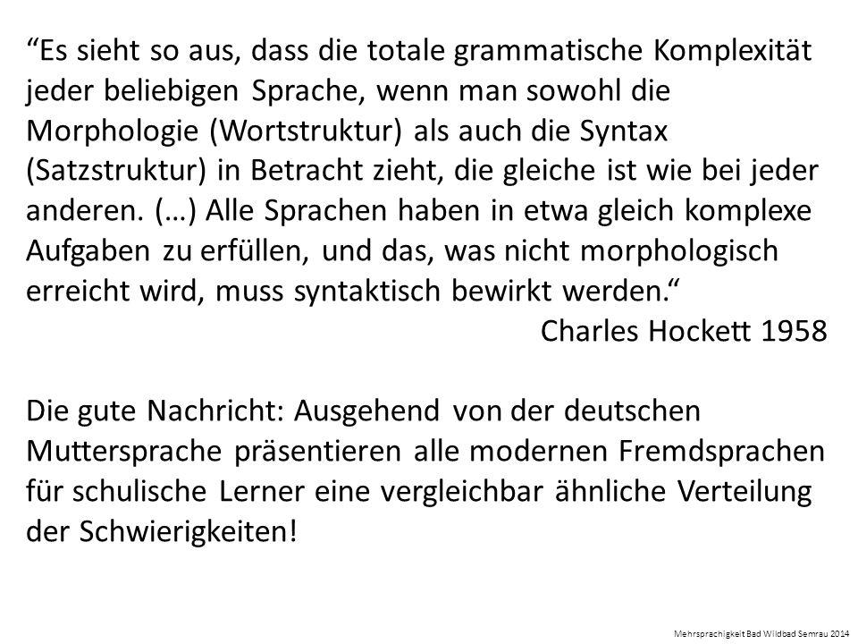 """""""Es sieht so aus, dass die totale grammatische Komplexität jeder beliebigen Sprache, wenn man sowohl die Morphologie (Wortstruktur) als auch die Synta"""