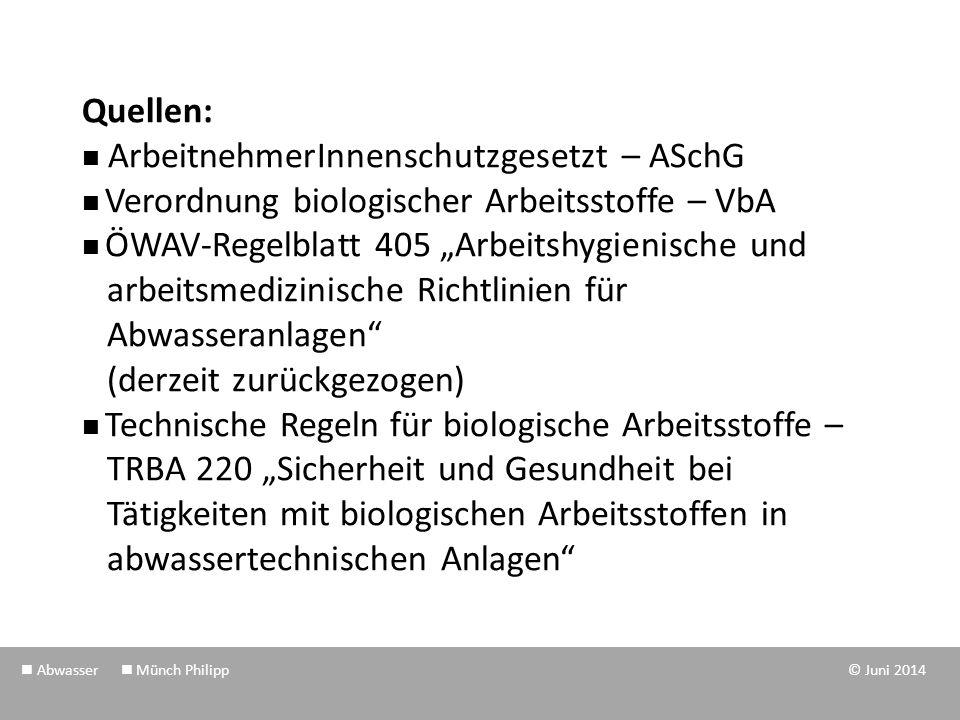 """Quellen: ArbeitnehmerInnenschutzgesetzt – ASchG Verordnung biologischer Arbeitsstoffe – VbA ÖWAV-Regelblatt 405 """"Arbeitshygienische und arbeitsmedizin"""