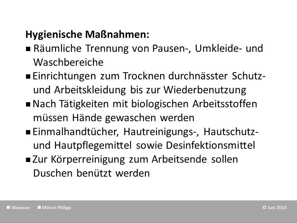 Personenbezogene Maßnahmen: Schutzkleidung (z.B.Einwegoveralls) Handschutz (z.B.