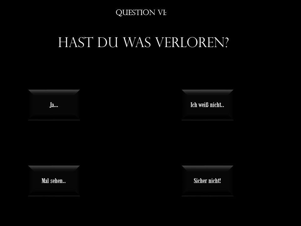 Question VI: Hast du was verloren Mal sehen.. Sicher nicht! Ja… Ich weiß nicht..