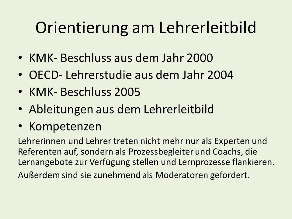Orientierung am Lehrerleitbild KMK- Beschluss aus dem Jahr 2000 OECD- Lehrerstudie aus dem Jahr 2004 KMK- Beschluss 2005 Ableitungen aus dem Lehrerleitbild Kompetenzen Lehrerinnen und Lehrer treten nicht mehr nur als Experten und Referenten auf, sondern als Prozessbegleiter und Coachs, die Lernangebote zur Verfügung stellen und Lernprozesse flankieren.