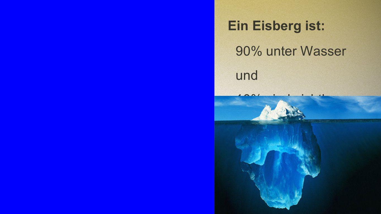 Eisberg Ein Eisberg ist: 90% unter Wasser und 10% sind sichtbar