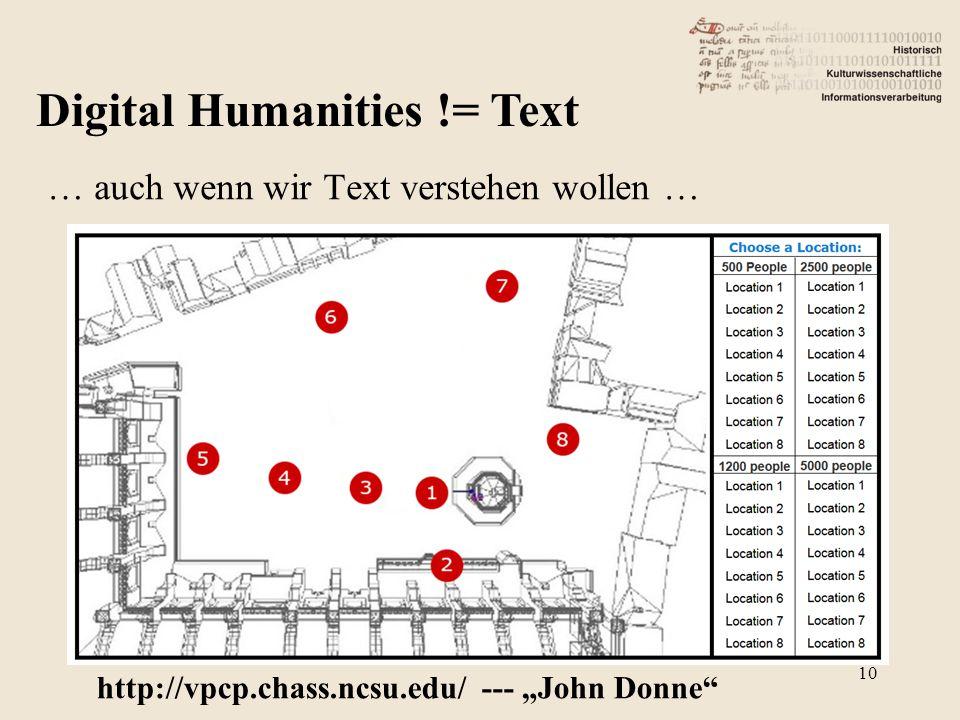"""Digital Humanities != Text … auch wenn wir Text verstehen wollen … http://vpcp.chass.ncsu.edu/ --- """"John Donne 10"""
