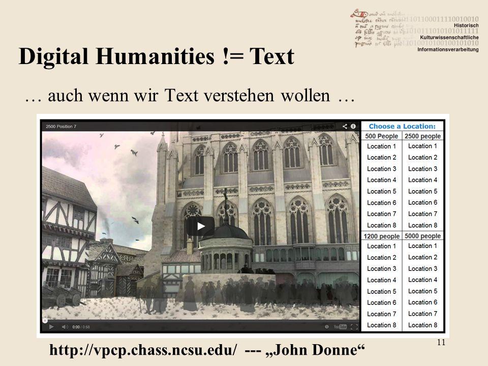 """Digital Humanities != Text … auch wenn wir Text verstehen wollen … http://vpcp.chass.ncsu.edu/ --- """"John Donne 11"""