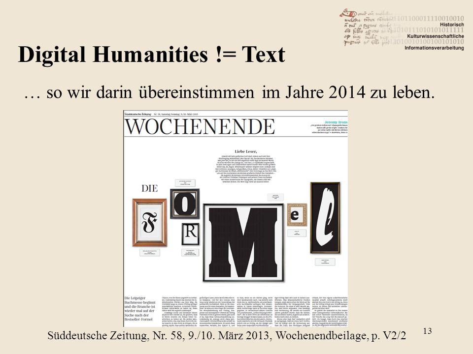 Digital Humanities != Text … so wir darin übereinstimmen im Jahre 2014 zu leben.