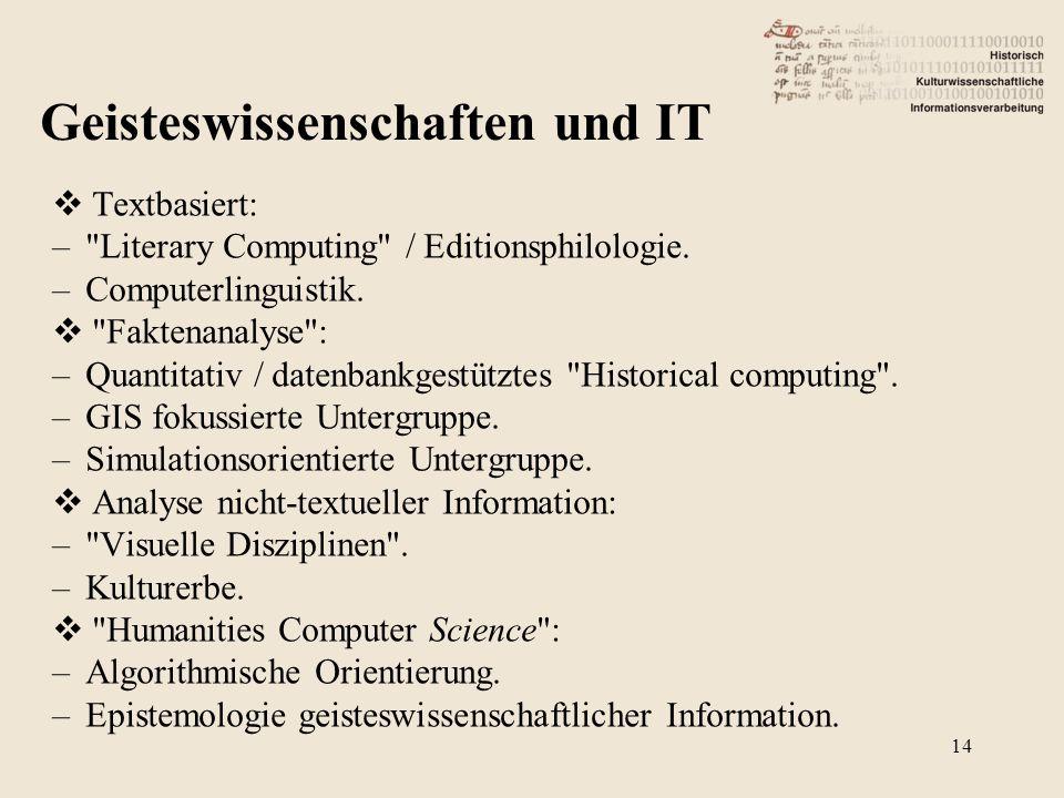  Textbasiert: – Literary Computing / Editionsphilologie.