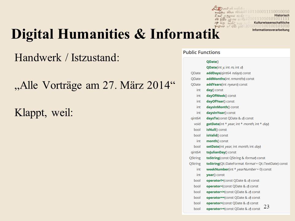"""Handwerk / Istzustand: """"Alle Vorträge am 27. März 2014"""" Klappt, weil: Digital Humanities & Informatik 23"""
