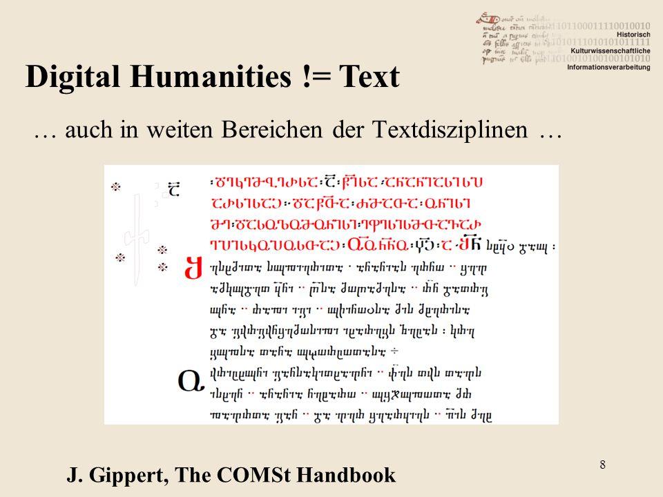 Digital Humanities != Text … auch in weiten Bereichen der Textdisziplinen … J. Gippert, The COMSt Handbook 8