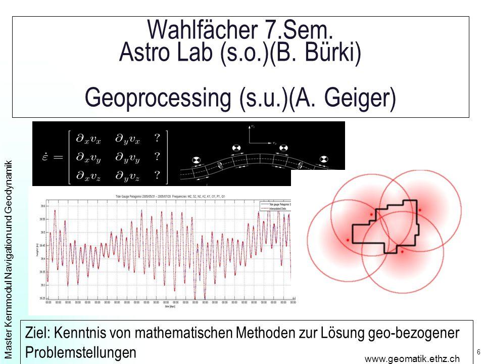 Master Kernmodul Navigation und Geodynamik www.geomatik.ethz.ch 6 Wahlfächer 7.Sem.